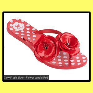zaxy Shoes - Red flip-flop sandals with flower and polkadots 6
